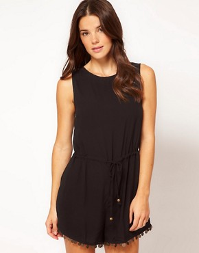 Image 1 ofNookie Beach Gypsy Nights Chiffon Playsuit With Coin Detail