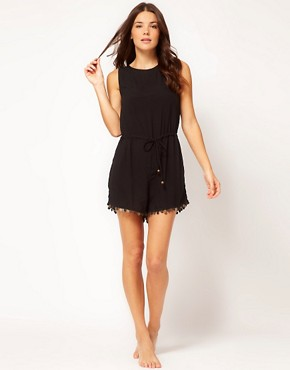 Image 4 ofNookie Beach Gypsy Nights Chiffon Playsuit With Coin Detail