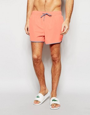 ASOS Short Length Runner Swim Shorts In Coral With Contrast Binding