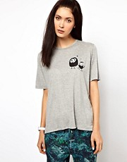 Lulu & Co.  T-Shirt mit Aufdruck Hndchen haltender Eulen