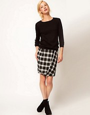 ASOS Check Twisted Pencil Skirt