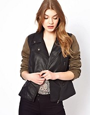 Oasis Leather Look Jacket With Contrast Sleeve