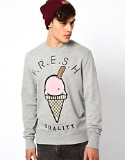 River Island Sweatshirt With Fresh Print