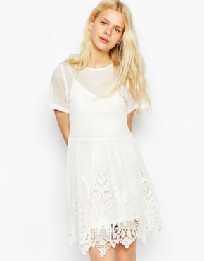 ASOS Smock Dress in Mesh with Cutwork and Lace Hem