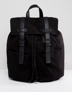 ASOS College Backpack In Black Canvas