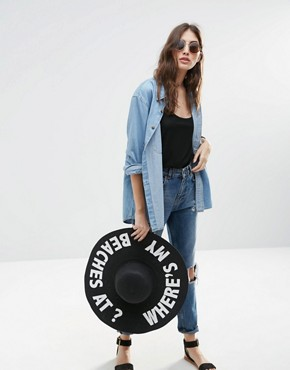 ASOS Oversized Straw Floppy With Slogan Where My Beaches At