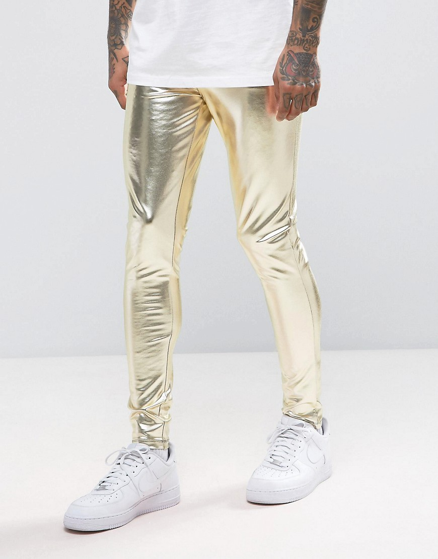 ASOS FESTIVAL Megging In Metallic Gold - Gold