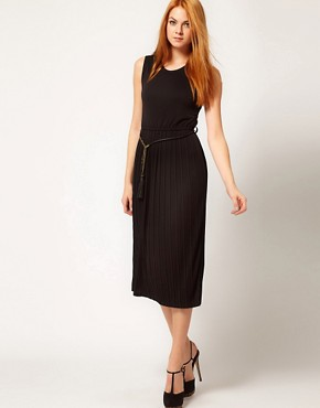 Image 1 ofBeloved Dress with Pleated Skirt and Tassel Belt