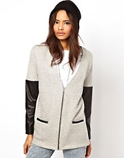 ASOS Cardigan with Zip and PU Sleeves