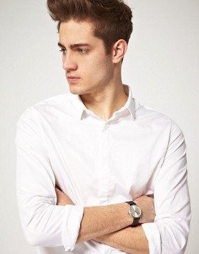 Image 1 ofASOS Brushed Silver Grandad Watch