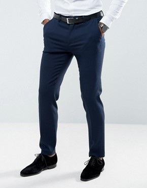 ASOS Wedding Skinny Suit Trouser in Woven Texture in Navy