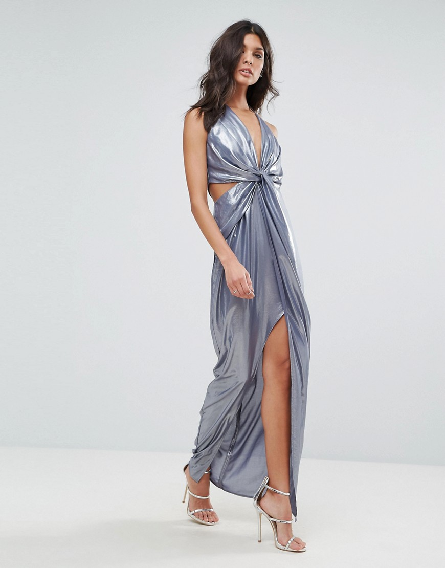 ASOS Metallic Cami Twist Front Maxi Dress