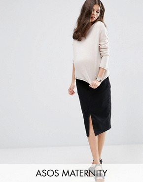 ASOS Maternity Denim Pencil Skirt in Washed Black