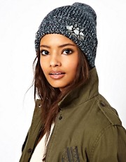 ASOS Mixed Knit Boyfriend Beanie With Embellished Turn Up