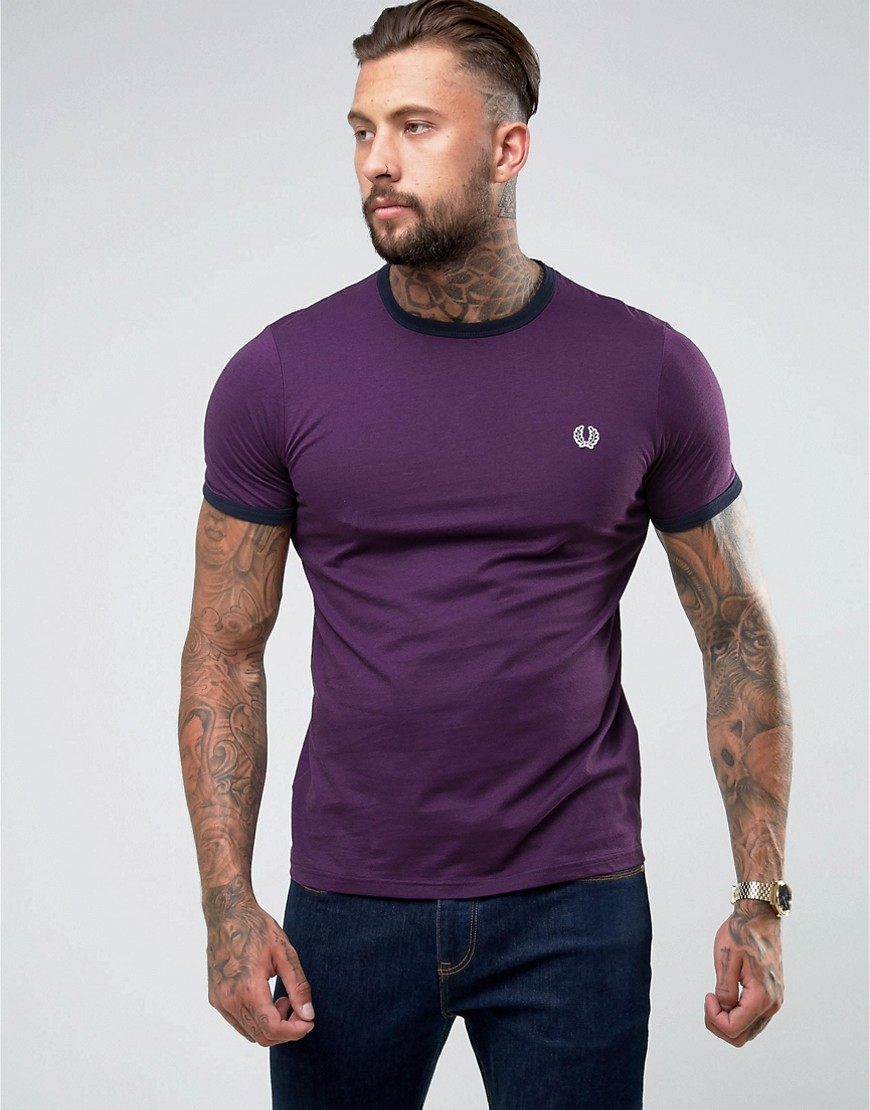 Fred Perry Slim Fit Sports Authentic Ringer T-Shirt In Purple - Blackcurrant