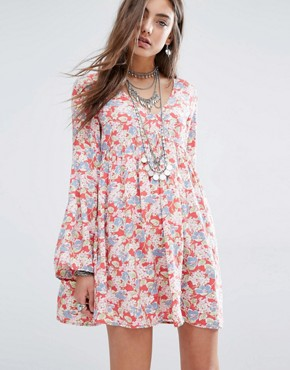 Denim & Supply By Ralph Lauren Deep V Floral Tea Dress With Bell Sleeve