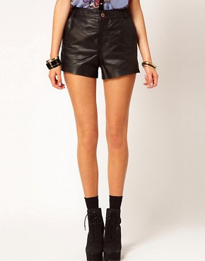 Image 4 ofRiver Island Leather Shorts