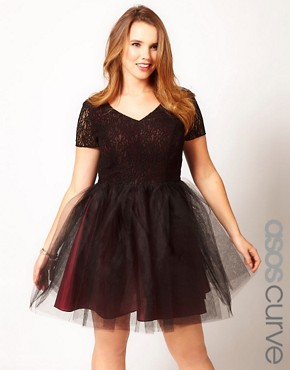 Image 1 ofASOS CURVE Exclusive Lace Dress With Tutu Skirt