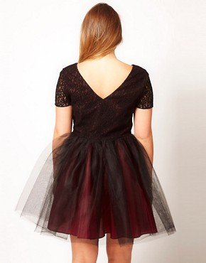 Image 2 ofASOS CURVE Exclusive Lace Dress With Tutu Skirt