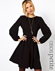 ASOS PETITE Skater Dress With Blouson Sleeve