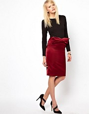 Antipodium Facet Pencil Skirt With Bow To Front