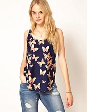 A Wear Dipped Hem Cami in Butterfly Print