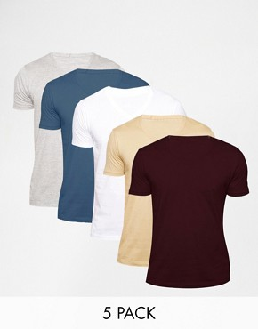 ASOS T-Shirt With V Neck 5 Pack SAVE 20%