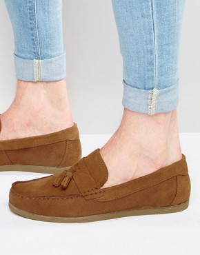 ASOS Tassel Loafers in Tan Suede With Gum Sole