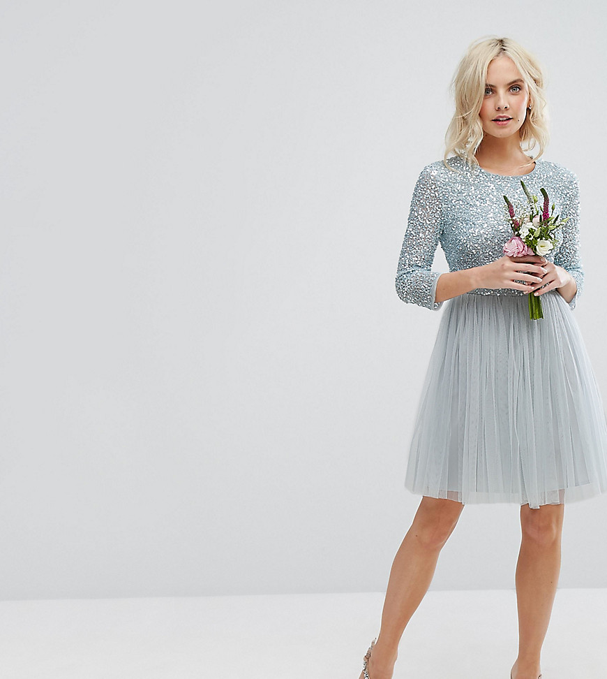 Maya Petite 3/4 Sleeve Mini Dress With Delicate Sequin And Tulle Skirt