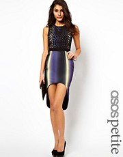 ASOS PETITE Exclusive Lasercut Dress With Hi Lo Hem
