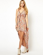 Pepe Jeans Printed Dress With High Lo Hem