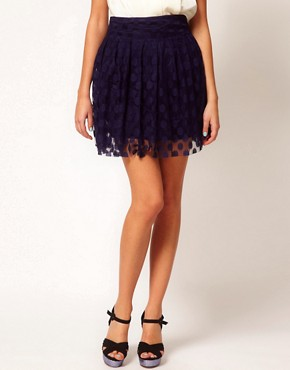 Image 4 ofCosta Blanca Spot Mesh Skater Skirt