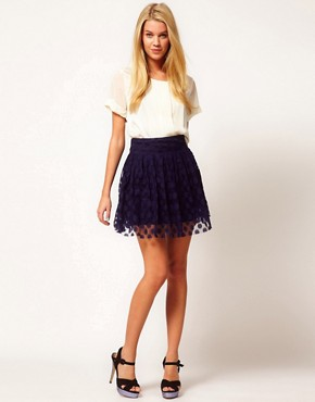 Image 1 ofCosta Blanca Spot Mesh Skater Skirt