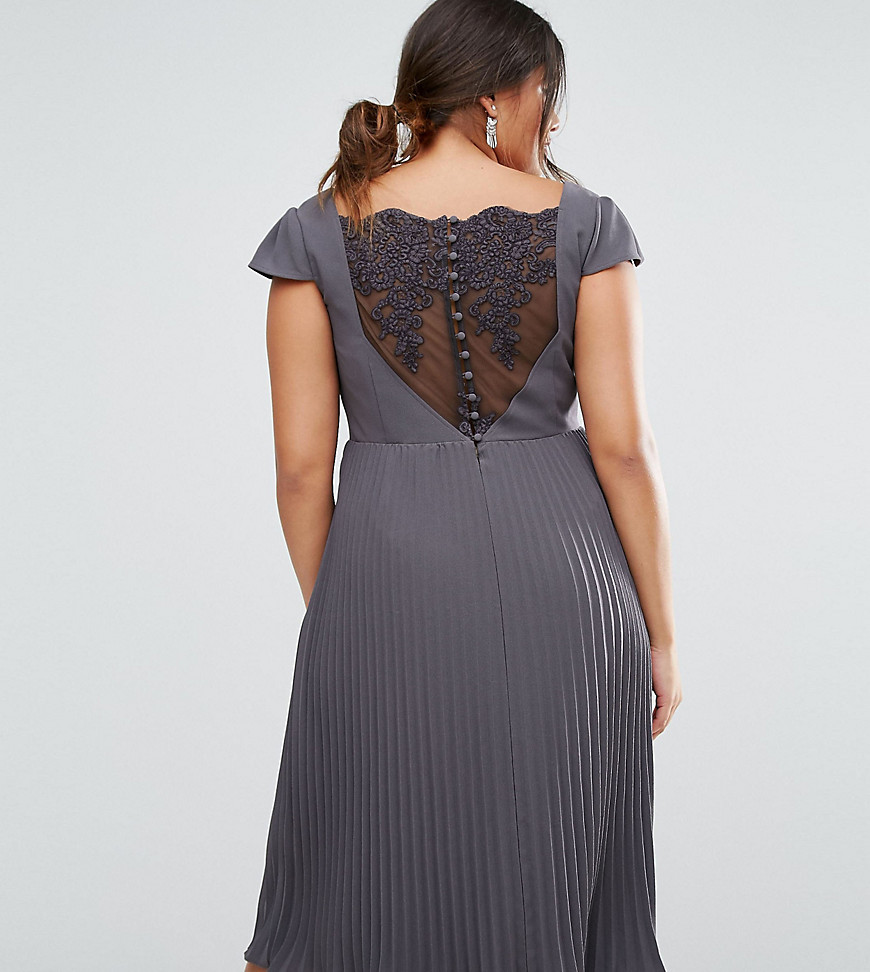 ASOS CURVE WEDDING Lace and Pleat Midi Dress