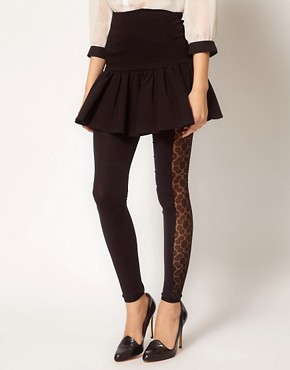 Image 1 ofASOS Side Panel Lace Footless Tights