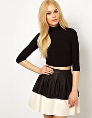 River Island Textured Polo Neck Crop Top
