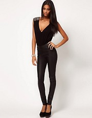 ASOS Skinny Trouser in Leather Look With Panels