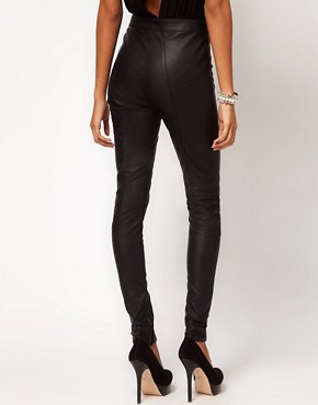 Image 2 ofASOS Skinny Trouser in Leather Look With Panels