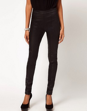 Image 4 ofASOS Skinny Trouser in Leather Look With Panels
