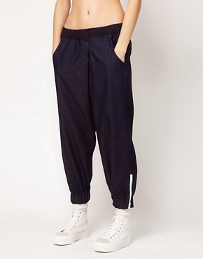 Image 4 ofASOS REVIVE Denim Trouser with Elasticated Cuff