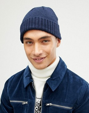 ASOS Lambswool Fisherman In Navy With Gift Box