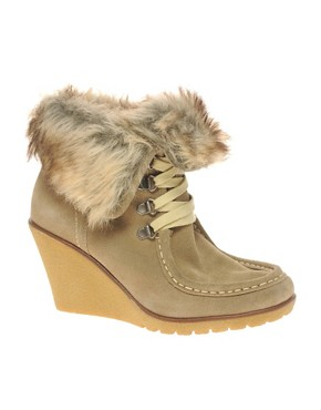 Image 1 ofALDO Peasnall faux fur wedge ankle boot