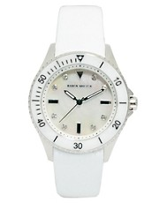 Karen Millen White Leather Strap Watch with Silver Dial