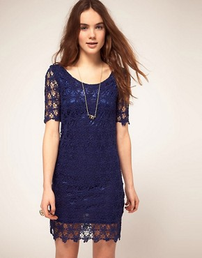 Image 1 ofVila Dress In Crochet With Scoop Neck