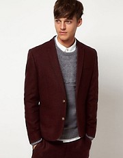 ASOS Skinny Fit Suit Jacket in Berry