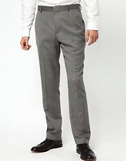ASOS Slim Fit Smart Trousers in Grey Herringbone