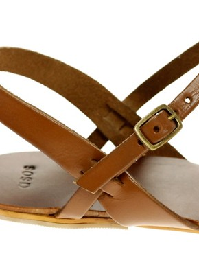 Image 2 ofASOS FLOSSY Leather Sandals with T-Bar Detail