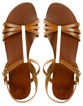 Image 3 ofASOS FLOSSY Leather Sandals with T-Bar Detail