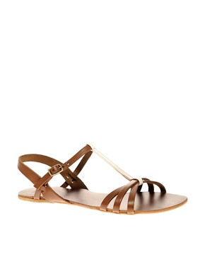 Image 1 ofASOS FLOSSY Leather Sandals with T-Bar Detail
