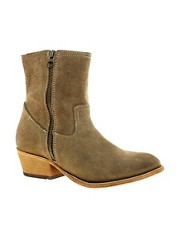 H by Hudson Riley Double Zip Mid Heel Boots